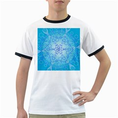 Design Winter Snowflake Decoration Ringer T Shirts by Nexatart
