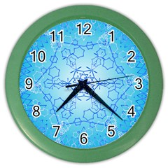 Design Winter Snowflake Decoration Color Wall Clocks by Nexatart