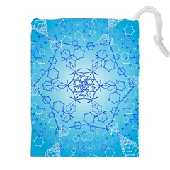 Design Winter Snowflake Decoration Drawstring Pouches (xxl) by Nexatart