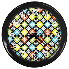 Diamonds Argyle Pattern Wall Clocks (black)