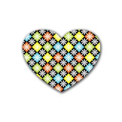 Diamonds Argyle Pattern Heart Coaster (4 Pack)  by Nexatart
