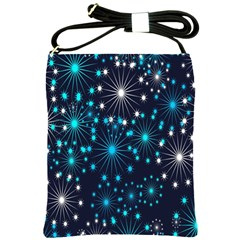 Digitally Created Snowflake Pattern Shoulder Sling Bags by Nexatart