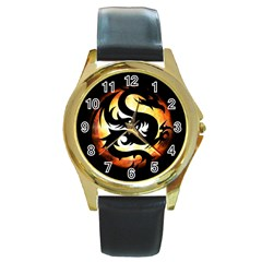 Dragon Fire Monster Creature Round Gold Metal Watch