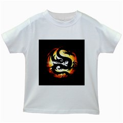 Dragon Fire Monster Creature Kids White T Shirts