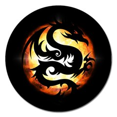 Dragon Fire Monster Creature Magnet 5  (round) by Nexatart