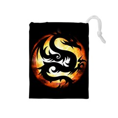 Dragon Fire Monster Creature Drawstring Pouches (medium)  by Nexatart