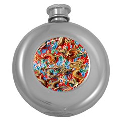 Dragons China Thailand Ornament Round Hip Flask (5 Oz)