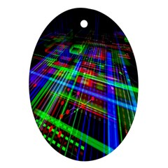 Electronics Board Computer Trace Oval Ornament (two Sides) by Nexatart