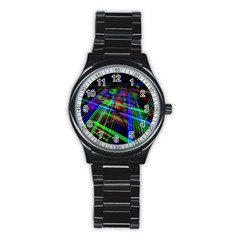 Electronics Board Computer Trace Stainless Steel Round Watch