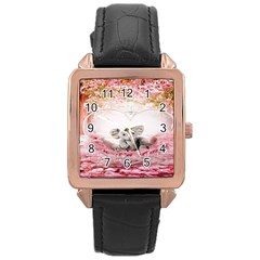 Elephant Heart Plush Vertical Toy Rose Gold Leather Watch  by Nexatart