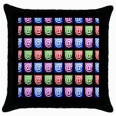 Email At Internet Computer Web Throw Pillow Case (black)
