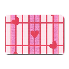 Fabric Magenta Texture Textile Love Hearth Small Doormat  by Nexatart