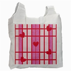 Fabric Magenta Texture Textile Love Hearth Recycle Bag (two Side)  by Nexatart