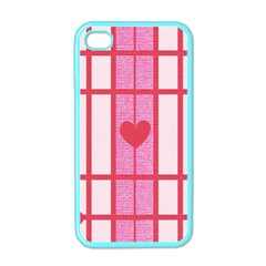 Fabric Magenta Texture Textile Love Hearth Apple Iphone 4 Case (color)