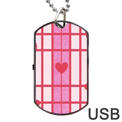 Fabric Magenta Texture Textile Love Hearth Dog Tag Usb Flash (one Side) by Nexatart