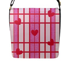 Fabric Magenta Texture Textile Love Hearth Flap Messenger Bag (l)  by Nexatart