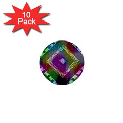 Embroidered Fabric Pattern 1  Mini Buttons (10 Pack)  by Nexatart