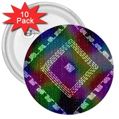 Embroidered Fabric Pattern 3  Buttons (10 Pack)  by Nexatart