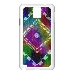 Embroidered Fabric Pattern Samsung Galaxy Note 3 N9005 Case (white) by Nexatart