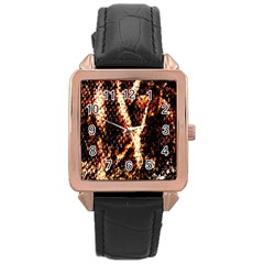 Fabric Yikes Texture Rose Gold Leather Watch