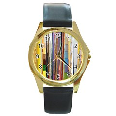 Fabric Round Gold Metal Watch