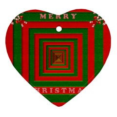 Fabric 3d Merry Christmas Heart Ornament (two Sides) by Nexatart