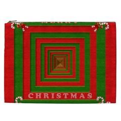 Fabric 3d Merry Christmas Cosmetic Bag (xxl)  by Nexatart