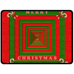Fabric 3d Merry Christmas Double Sided Fleece Blanket (large)  by Nexatart