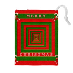 Fabric 3d Merry Christmas Drawstring Pouches (extra Large)