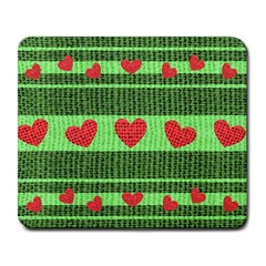 Fabric Christmas Hearts Texture Large Mousepads by Nexatart