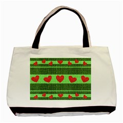 Fabric Christmas Hearts Texture Basic Tote Bag by Nexatart