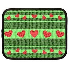Fabric Christmas Hearts Texture Netbook Case (large) by Nexatart