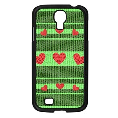 Fabric Christmas Hearts Texture Samsung Galaxy S4 I9500/ I9505 Case (black) by Nexatart