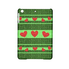 Fabric Christmas Hearts Texture Ipad Mini 2 Hardshell Cases by Nexatart