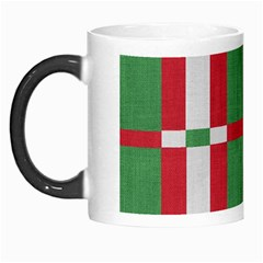 Fabric Green Grey Red Pattern Morph Mugs