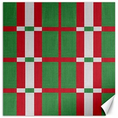Fabric Green Grey Red Pattern Canvas 12  X 12   by Nexatart