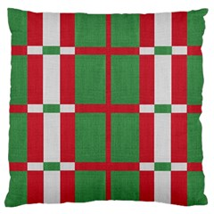Fabric Green Grey Red Pattern Large Cushion Case (two Sides)