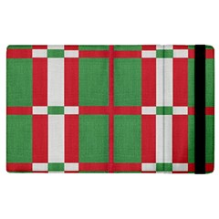 Fabric Green Grey Red Pattern Apple Ipad 2 Flip Case by Nexatart