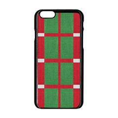 Fabric Green Grey Red Pattern Apple Iphone 6/6s Black Enamel Case by Nexatart