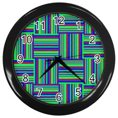 Fabric Pattern Design Cloth Stripe Wall Clocks (black) by Nexatart