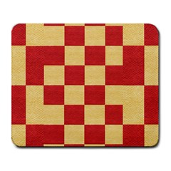 Fabric Geometric Red Gold Block Large Mousepads