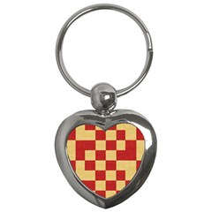 Fabric Geometric Red Gold Block Key Chains (heart)  by Nexatart