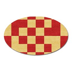 Fabric Geometric Red Gold Block Oval Magnet by Nexatart