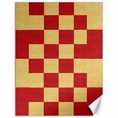Fabric Geometric Red Gold Block Canvas 12  X 16   by Nexatart