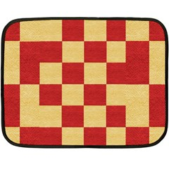 Fabric Geometric Red Gold Block Double Sided Fleece Blanket (mini)  by Nexatart