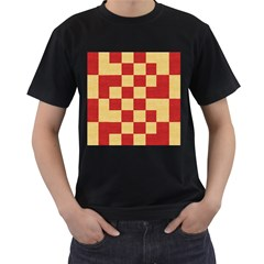 Fabric Geometric Red Gold Block Men s T-shirt (black) by Nexatart