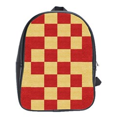 Fabric Geometric Red Gold Block School Bags(large)  by Nexatart