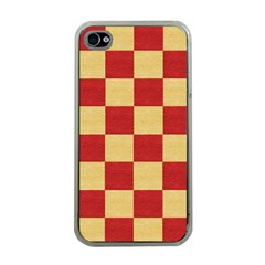 Fabric Geometric Red Gold Block Apple Iphone 4 Case (clear) by Nexatart