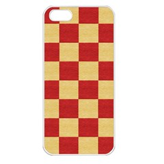 Fabric Geometric Red Gold Block Apple Iphone 5 Seamless Case (white) by Nexatart