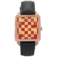 Fabric Geometric Red Gold Block Rose Gold Leather Watch